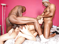 Lascivious Shani Reid is gang banged by three big black cocks.